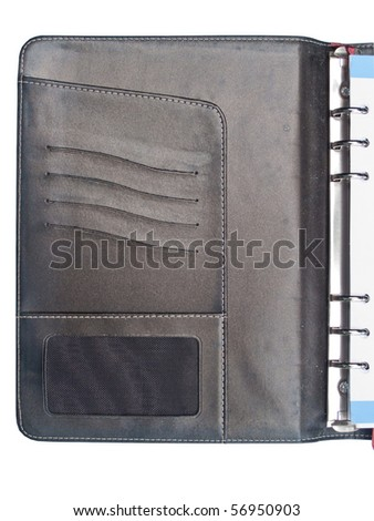 Inside cover of leather organizer with name card holder on white background - stock photo
