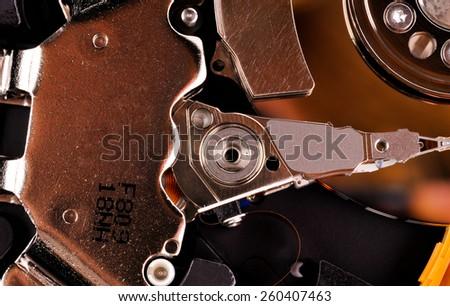 Inside hard disk drive - stock photo