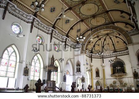 Inside Kalawar Church or Holy Rosary, Bangkok, Thailand - stock photo