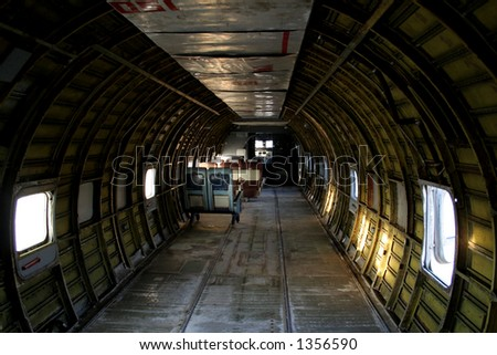 Inside of a cargo plane - stock photo