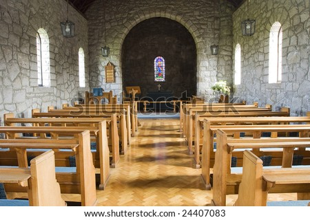 inside of a church hall - stock photo