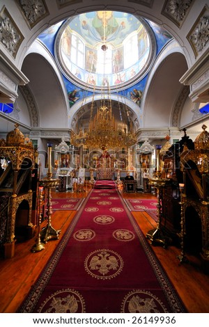 inside of a Greek Monastery on Mount Athos, Chalkidiki, Greece - stock photo