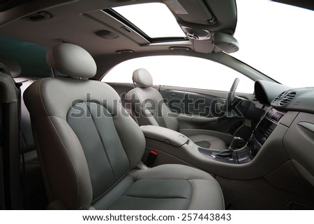inside of a new car with gears - stock photo