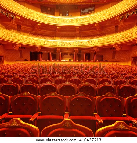 Inside of a theatre hall shot with tilt and shift lens - stock photo