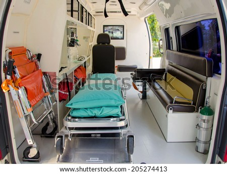 Inside of an ambulance for the hospital. - stock photo