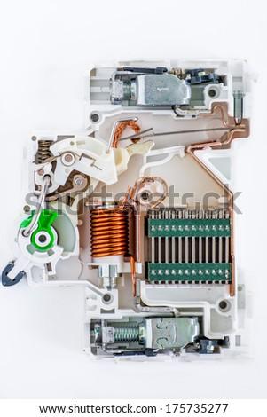 inside of circuit breaker on the white background - stock photo