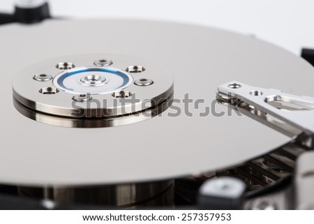 inside of hard drive close-up - stock photo