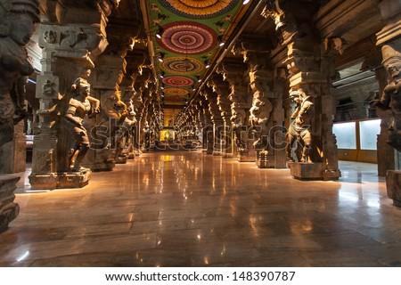 Inside of  hindu temple in Madurai, Tamil Nadu - stock photo