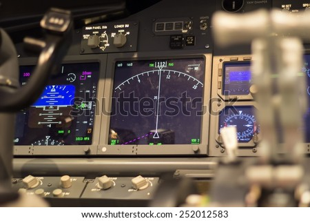 inside of homemade flight simulator cockpit - stock photo