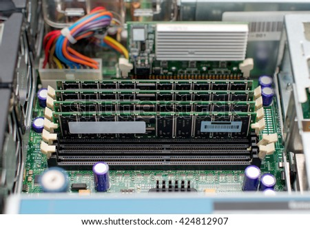Inside of server pc. Motherboard and RAM memory. - stock photo