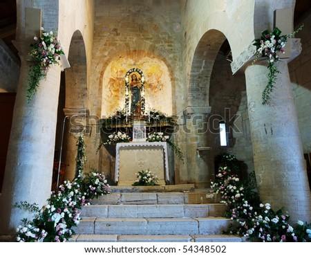 Inside of the ancient church of Santa Maria della Strada (Molise, center Italy) - stock photo