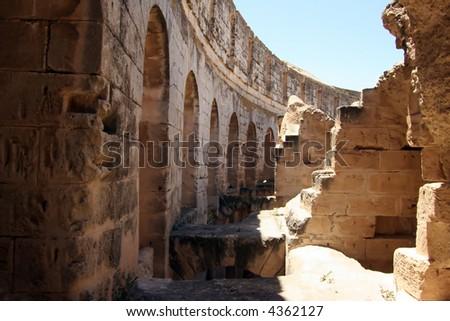 Inside of the Coliseum of Thysdrus at El Jem, Tunisia - stock photo