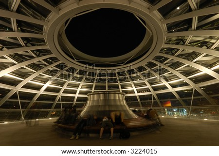 Inside of the Cupola in the Reichstag Building in Berlin, Germany - stock photo