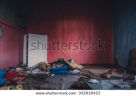 inside of the ruined house - stock photo