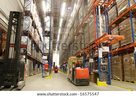 inside of warehouse - stock photo