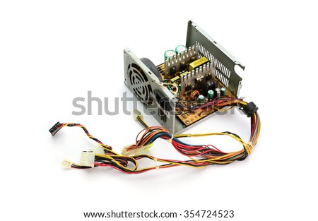 Inside of Waste Computer Power Supply - stock photo