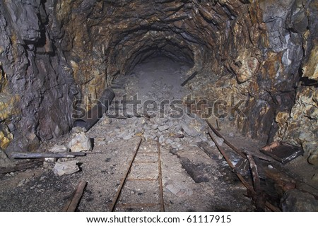 Inside Old bunker from ii world war - Wlodarz - poland (undeground factory of rocket V2 ) - stock photo