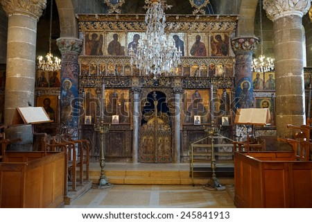 Inside old greek orthodox chuch in Guzelurt                                - stock photo