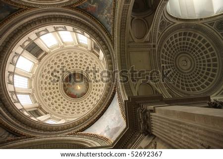 Inside Paris Pantheon dome - stock photo
