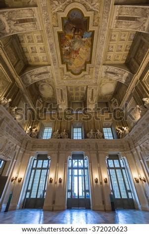 inside Pazzo Madama,  Turin main sightseeing - stock photo