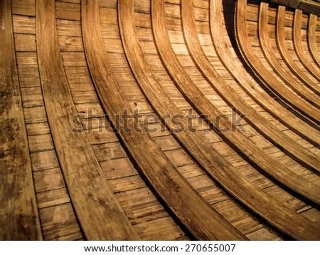 Inside ribs in a traditional birch bark canoe - stock photo