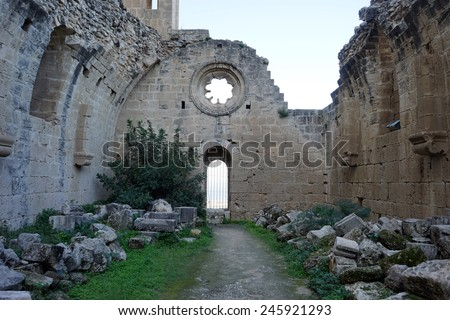 Inside ruined church in Bellapais monastery near Girne, North Cyprus                                - stock photo