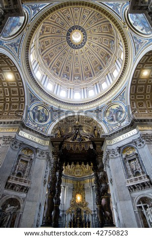 Inside St. Peter's Cathedral. Vatican City. - stock photo