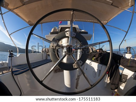 Inside the cockpit of sailing yacht  - stock photo