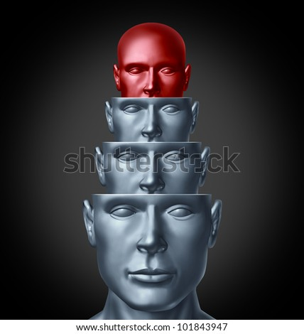 Inside the creative mind and analyzing the human brain as several human heads in layers for intelligent thinking and creative imagination solutions to problems as a health care and medical symbol. - stock photo