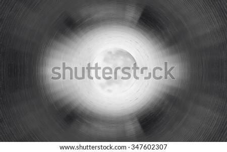 Inside the gas pipeline. Light in the end of a tunnel - stock photo