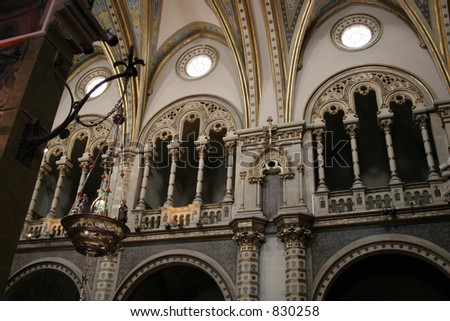 Inside the Montserrat Basilica in Spain. - stock photo