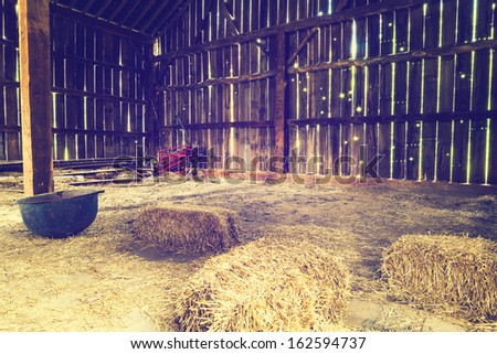 Inside the old barn  - stock photo