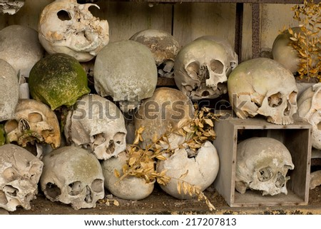 Inside the ossuary of Marville, France, with thousands of ancient skulls of 19th century and older - stock photo