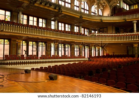 "Inside the 'Palau de la M?sica Catalana ""(Catalonian Music Palace), Barcelona, Spain. Headquarters of ""Catalan Choir"" was founded in 1891. - stock photo"