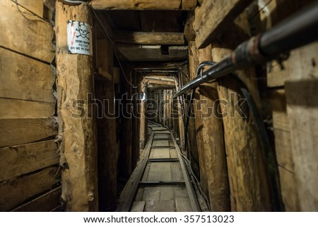 Inside the Sarajevo Tunnel constructed during the Siege of Sarajevo - stock photo
