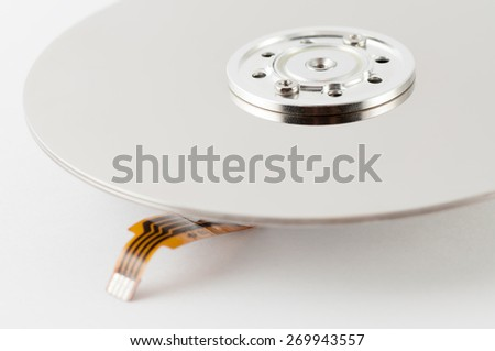 Inside view of hard disk computer - stock photo
