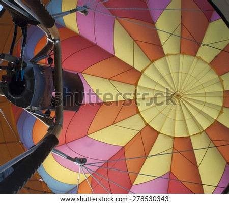 inside view of hot air balloon prior to launch - stock photo