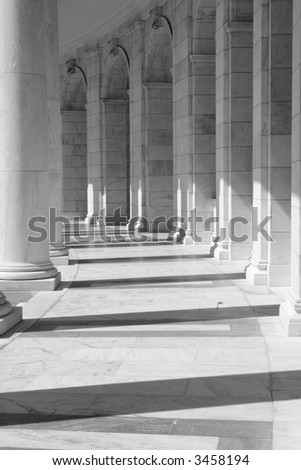 Inside view of the amphitheater in front of the tomb of the unknown soldier, Arlington Cemetery, VA, black and white - stock photo