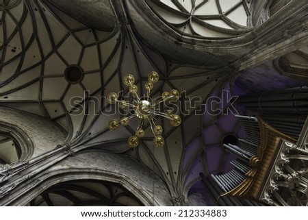 Inside view of Vienna's Stephansdom (St. Stephens Cathedral), the mother church of the Roman Catholic Archdiocese of the city. - stock photo