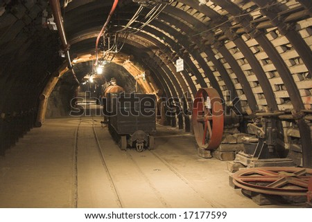 inside view the old mine - stock photo