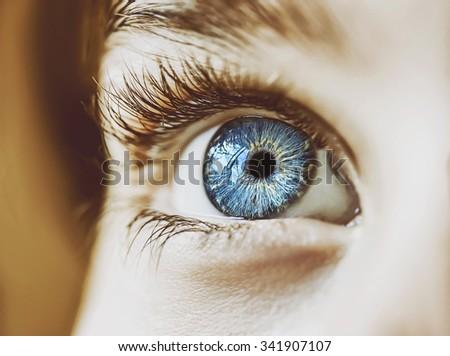 insightful look blue eyes boy - stock photo