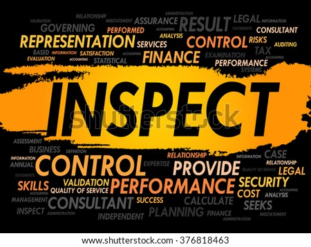 INSPECT word cloud, business concept - stock photo