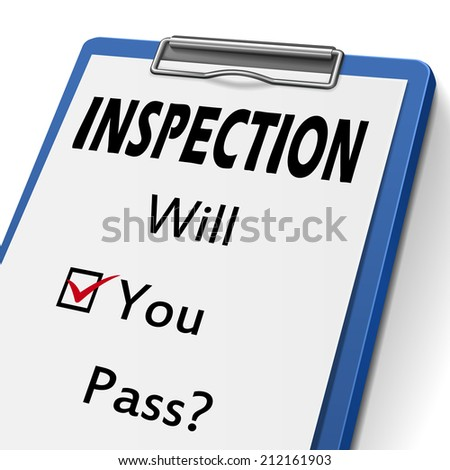 inspection clipboard with check boxes marked for will you pass - stock photo
