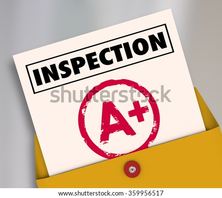 Inspection report card with an A Plus grade or score for an excellent review or evaluation - stock photo