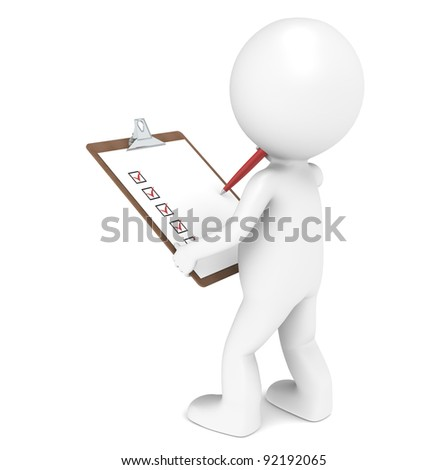 Inspector. 3D little human character The Inspector holding a Clip Board and a Pen. Red edition. People series. - stock photo