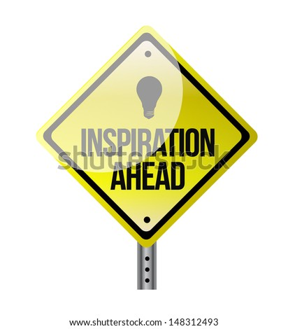 inspiration ahead road sign illustration design over white - stock photo