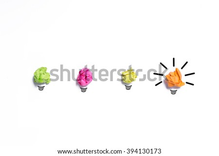 Inspiration concept crumpled paper light bulb metaphor for good idea isolate on white background - stock photo