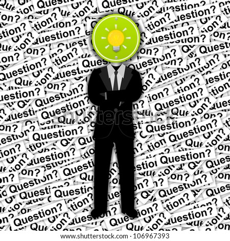 Inspiration Concept, The Man With Yellow Light Bulb Road Sign Head Stand on Many Question Label Background - stock photo