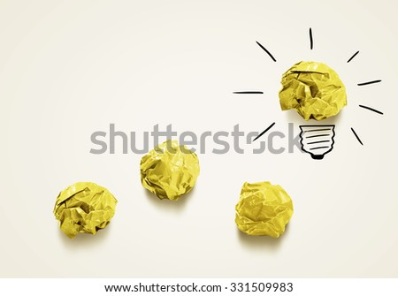 Inspiration concept with crumpled paper as sign for creativity work - stock photo