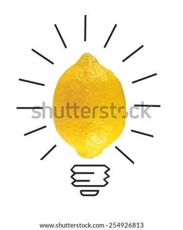 Inspiration concept yellow lemon as light bulb metaphor for good idea - stock photo